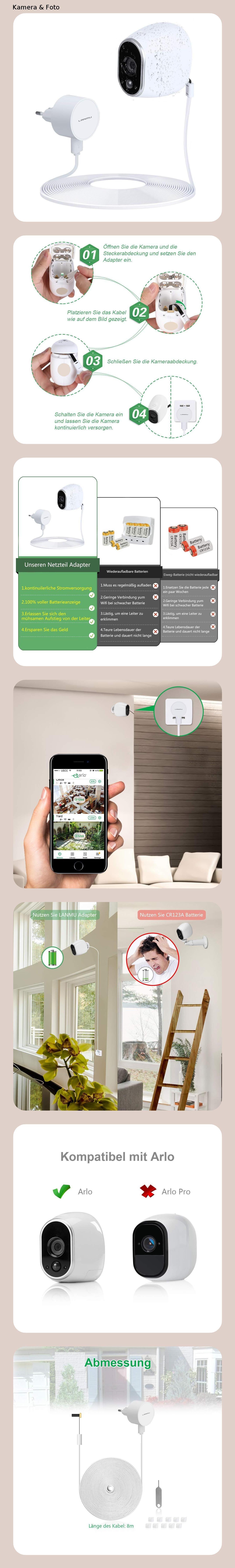 weiß Wetterfestes Netzteil und Kabel für Arlo Überwachungskamera-Smart-Zubehör