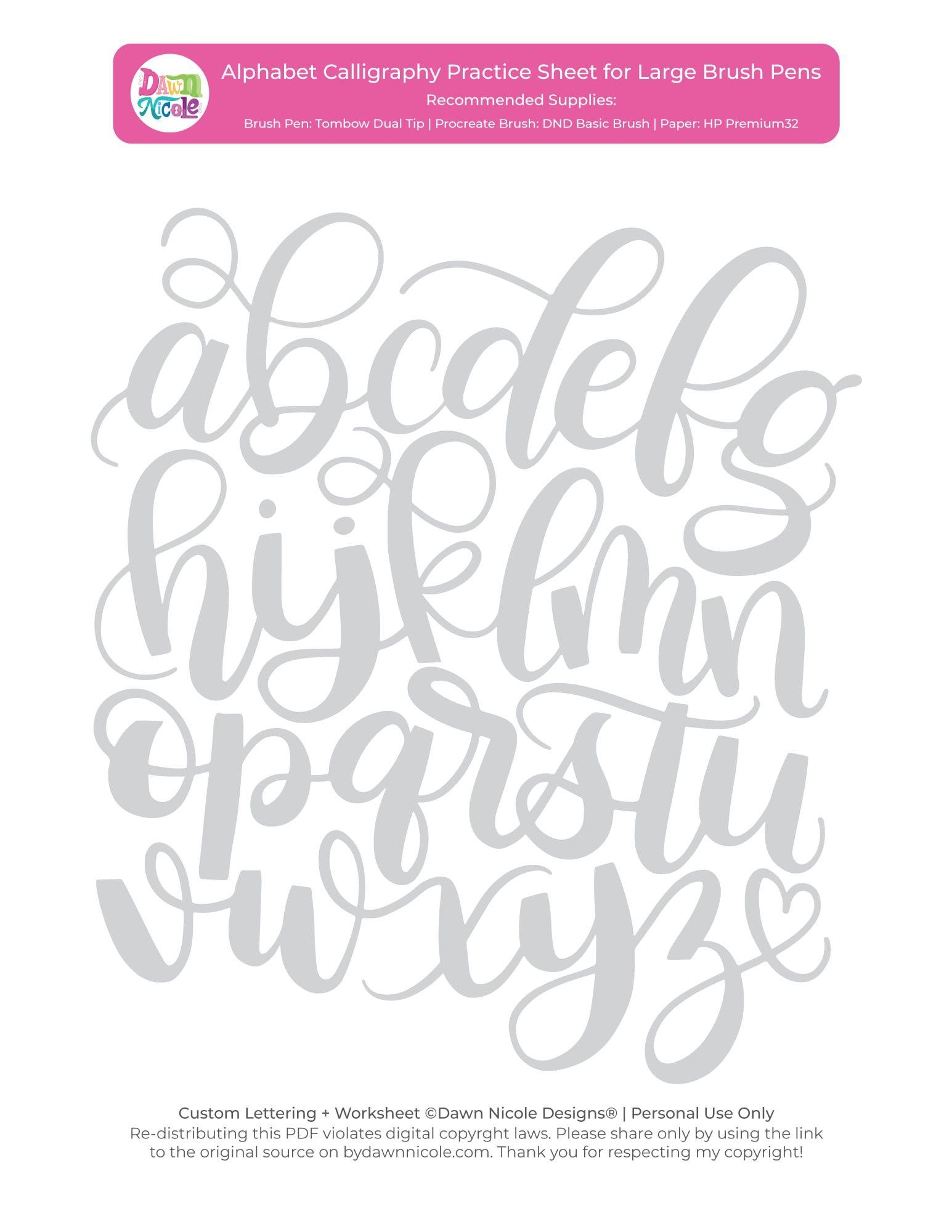 Free Calligraphy Worksheets Printable Alphabet Calligraphy