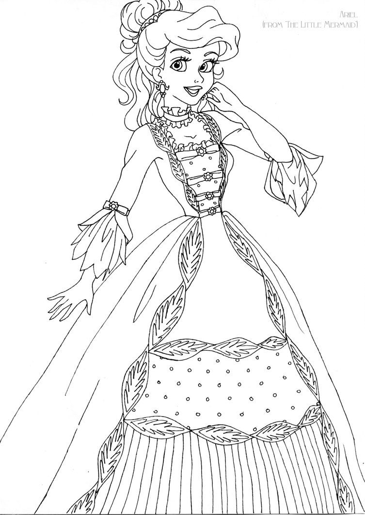 ariel deluxe gown lineart by ladyamber on deviantart coloring
