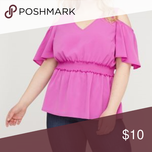 a71dd3b37c711d Lane Bryant NWT Smocked cold shoulder top 26 A woven top with cold shoulders