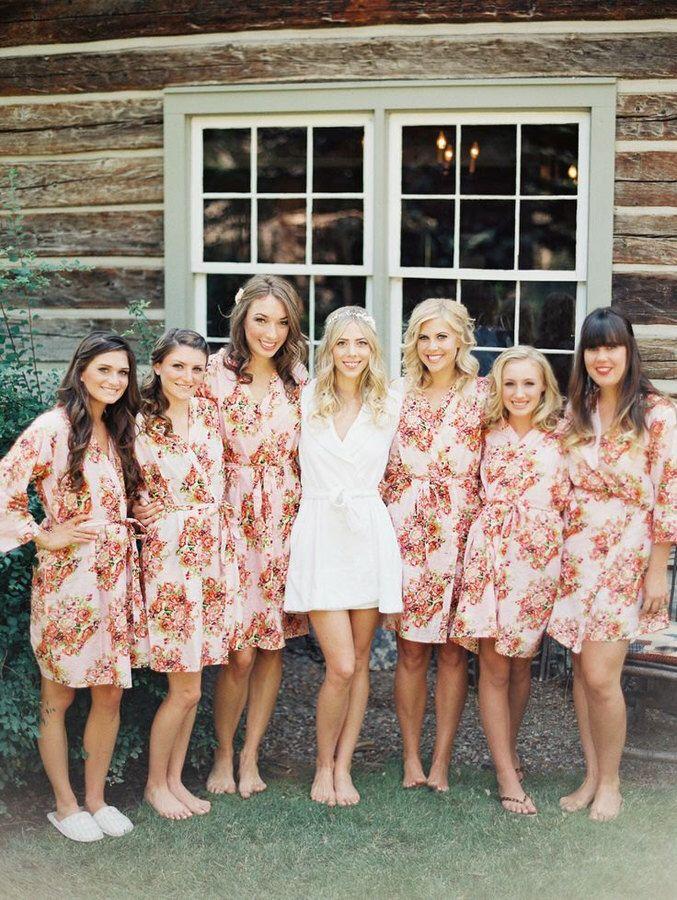 Etsy Shabby Chic Pink Bridesmaids Robes. Kimono Crossover Robe ...