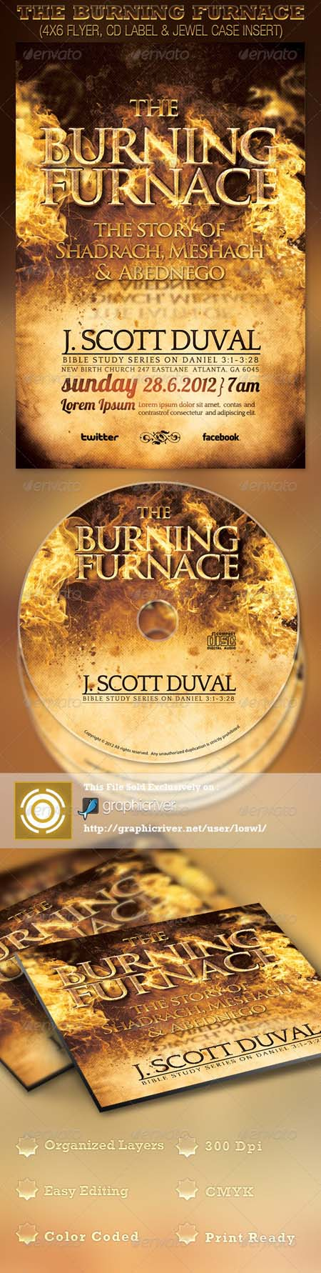 GraphicRiver The Burning Furnace Church Flyer and CD Photoshop ...