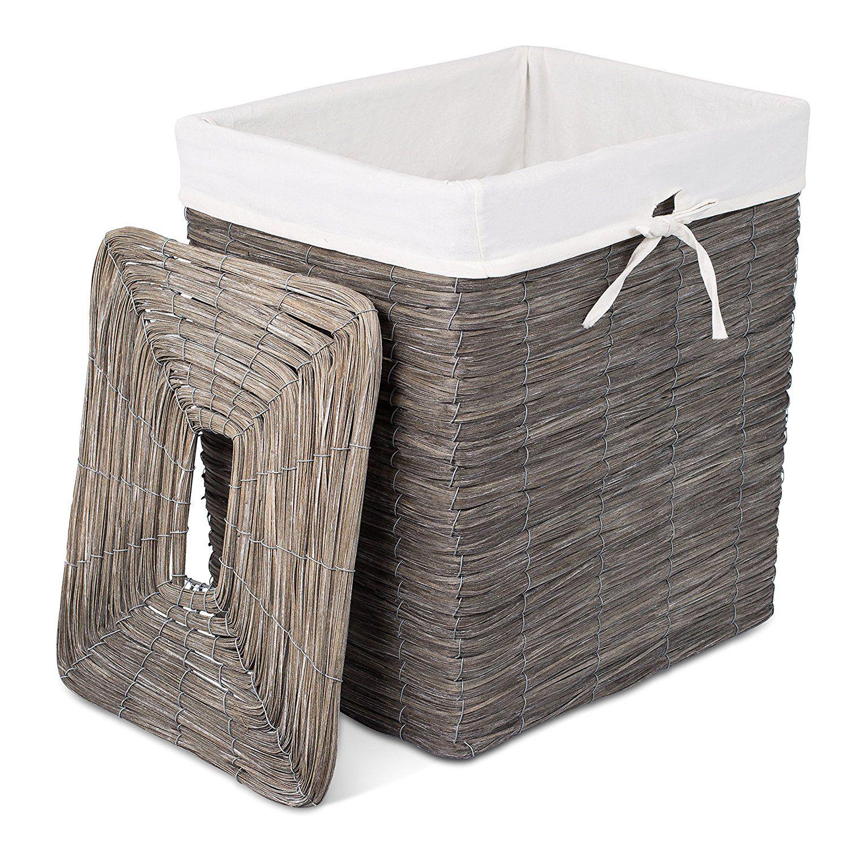 Amazon Com Birdrock Home Rustic Woven Wood Peel Laundry Hamper