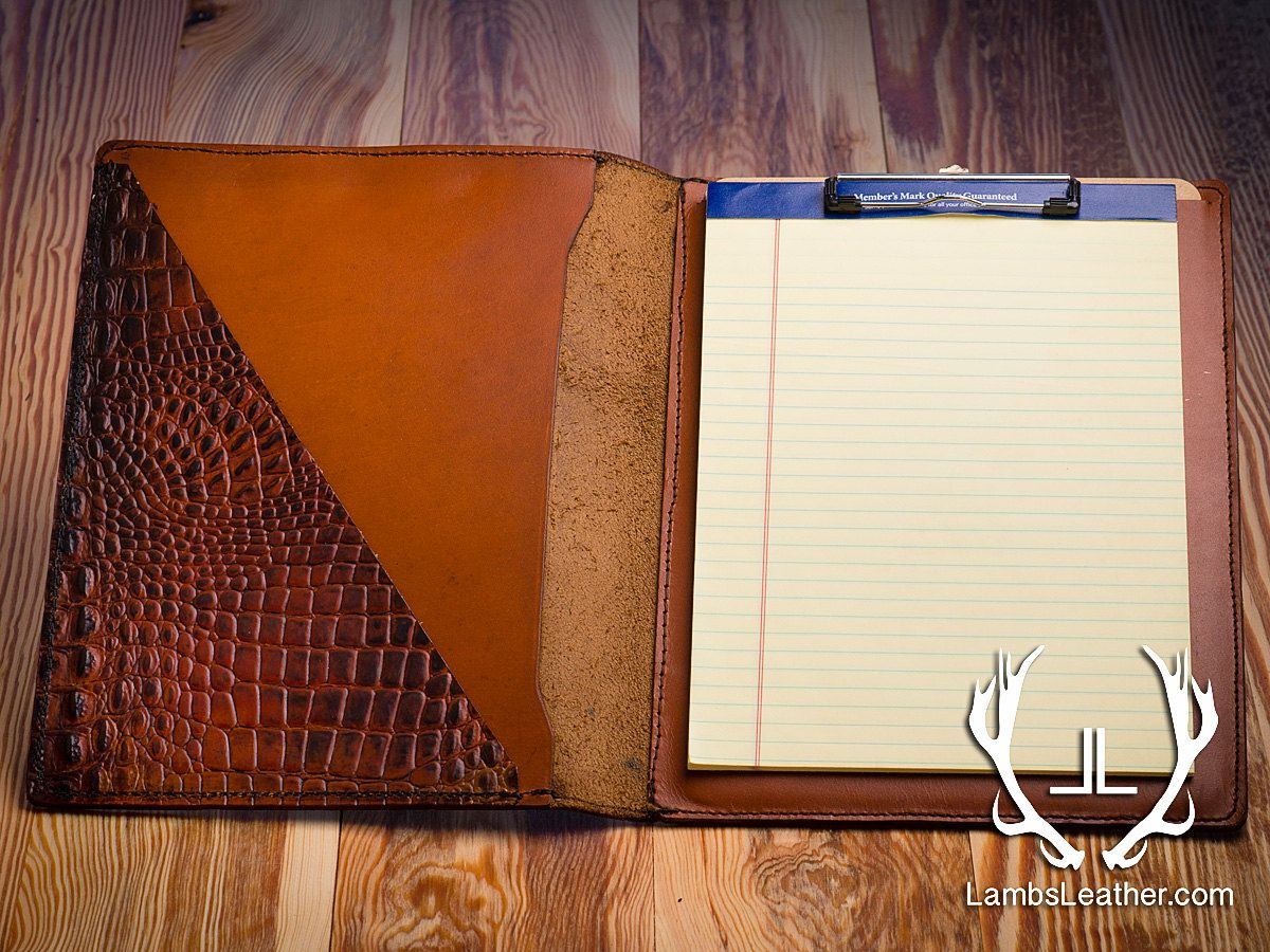 Leather Clipboard Folio, Cross Accented Cover, Crocodile Embossed ...