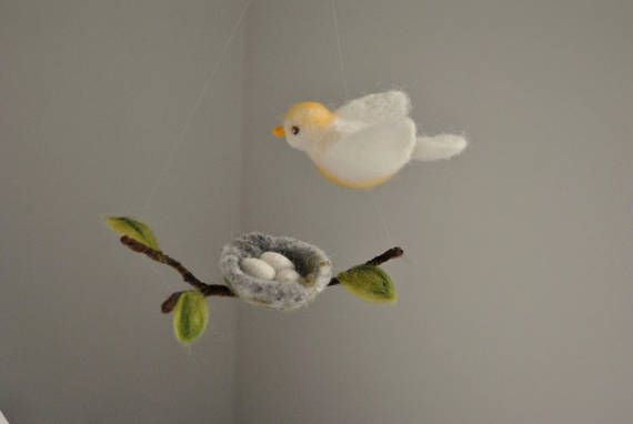 Bird and nest wool decoration waldorf inspired wall hanging: white
