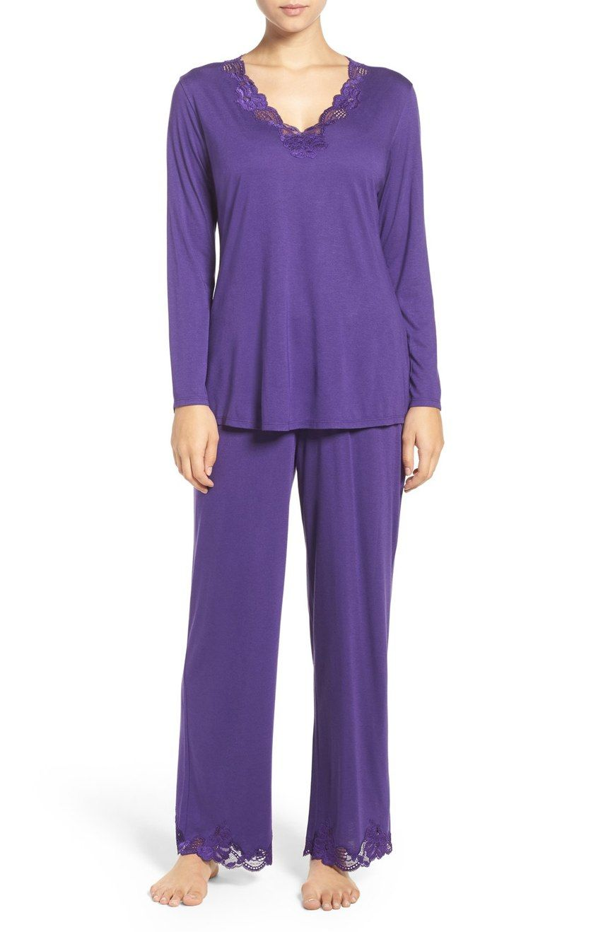Main Image - Natori Lace Trim Pajamas