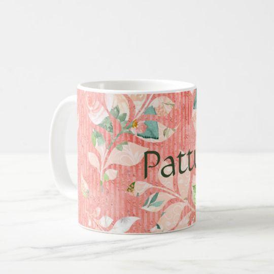 Pretty Peach Watercolor Floral Print Personalized Coffee Mug