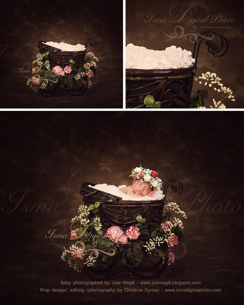 Antique baby carriage with dark background and flower beautiful digital background newborn photography prop download psd with layers