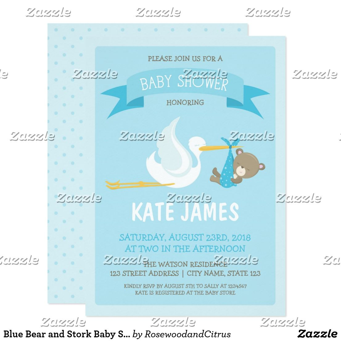 Blue Bear and Stork Baby Shower Invitation Adorable Blue Baby Shower ...