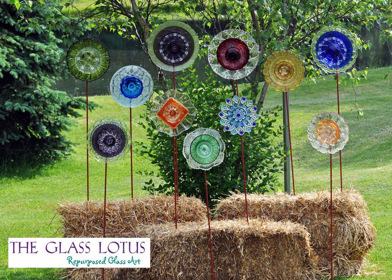 Recycled Glass Flower Sun Catcher Garden Art, Garden Decor - Made of ...
