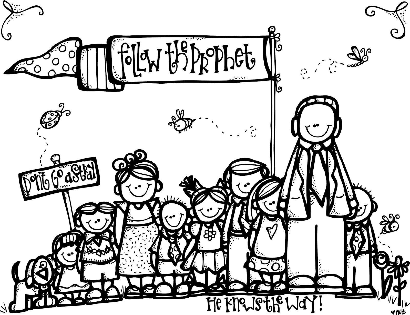 Melonheadz Lds Illustrating Follow The Prophet Lds Coloring