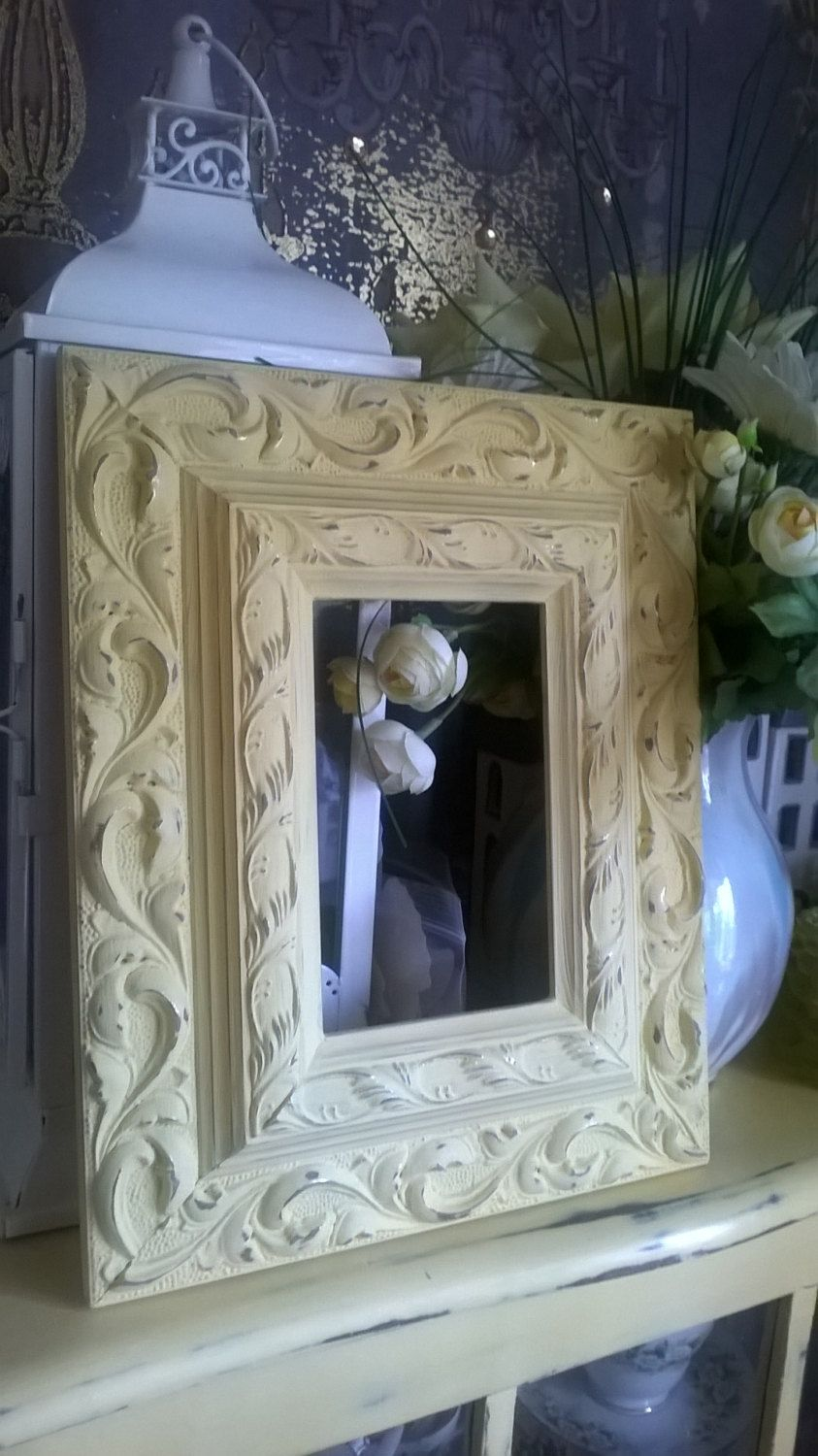 Vintage Modern Style Yellow Shabby Chic Picture Frame 6 X 4 Actual Size 11 X 9 Shabby Chic Picture Frames Vintage Modern Style Yellow Chalk Paint