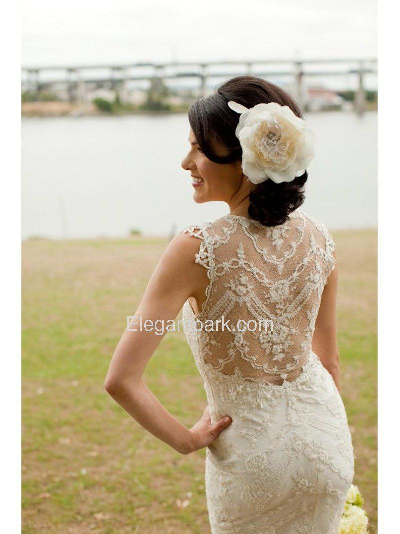 fitted lace wedding dress Chic Mermaid Fitted Lace High Back Wedding Dress ELE Elegantpark com on