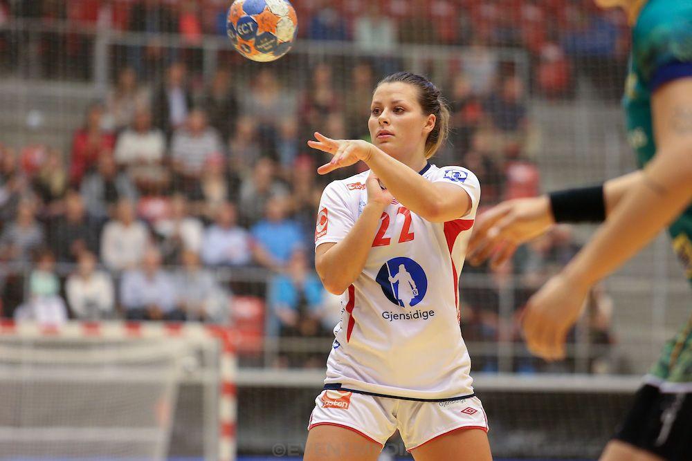 Nora Mørk. Norway against Brazil at Kvik/AL-Bank Golden League 2014, Gråkjær Arena, Holstebro, Denmark, 9.10.2014.