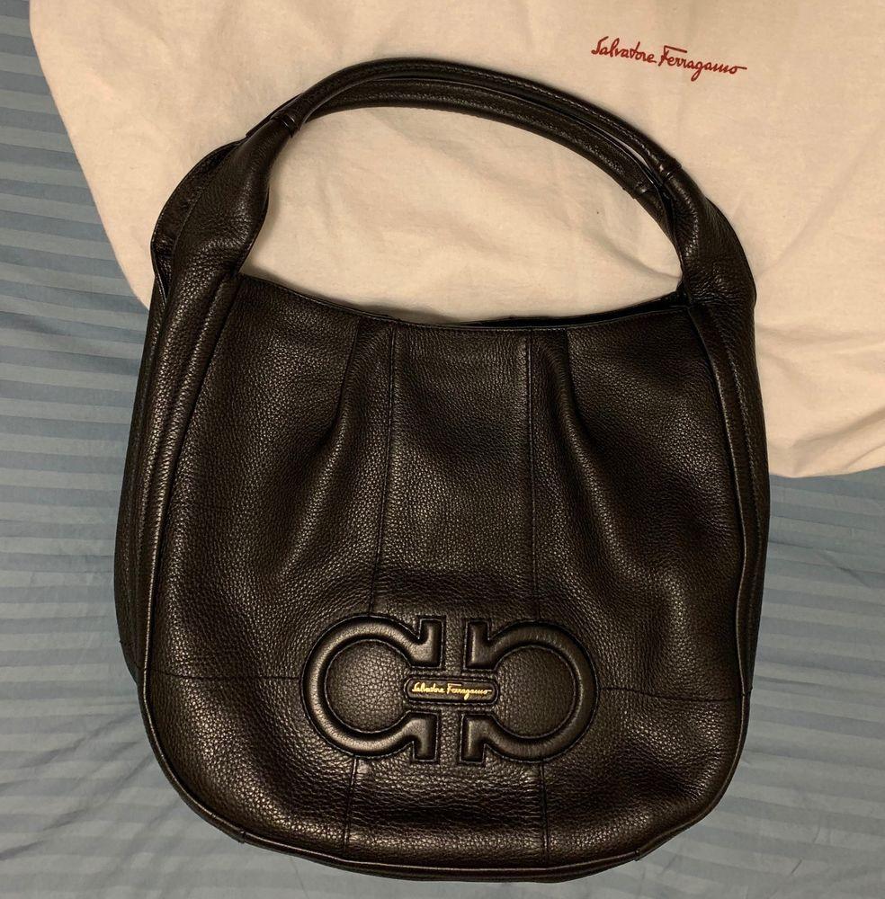 09fabd6c56 Gorgeous Salvatore Ferragamo Black Leather Hobo Shoulder Handbag ...