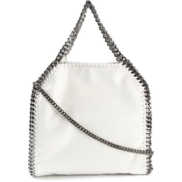 Stella McCartney mini 'Falabella' tote ($1,055) ❤ liked on Polyvore featuring bags, handbags, tote bags, white, tote purses, stella mccartney tote, top handle handbags, mini purse and white handbags