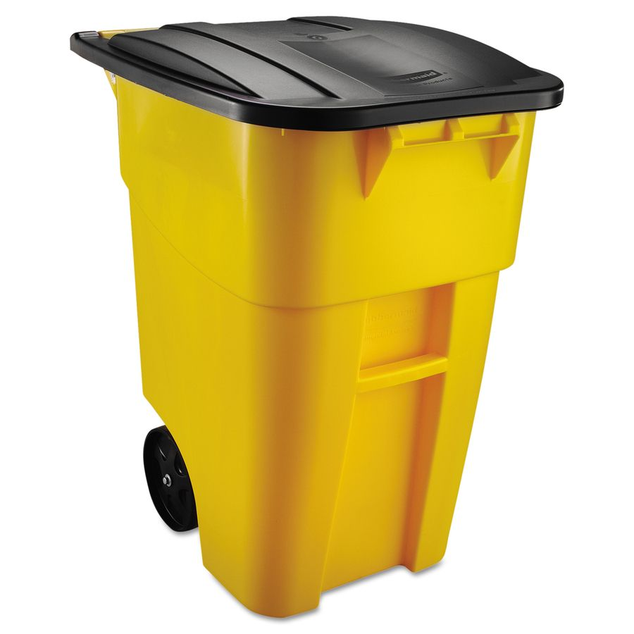Outdoor Trash Can With Wheels Delectable Rubbermaid Commercial Products Brute 50Gallon Yellow Plastic Design Decoration