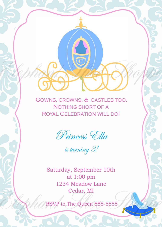 Cinderella Inspired Birthday Invitation - | Birthday | Pinterest ...