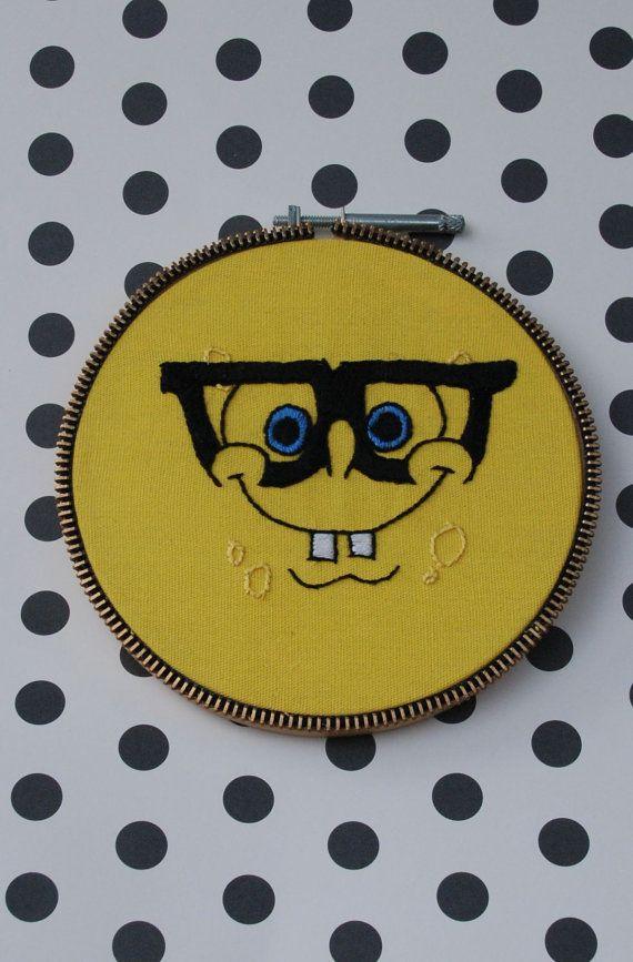 Nerdy SpongeBob SquarePants hand embroidery hoop wall art | Ideas ...