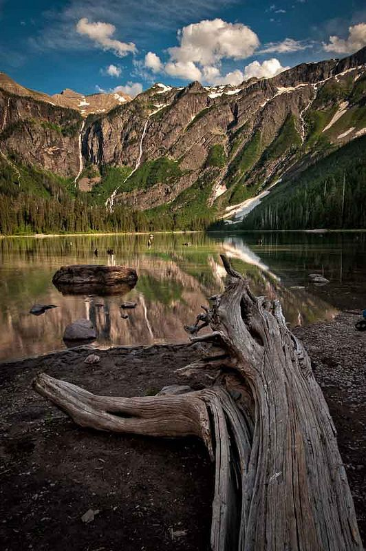 ˚Avalanche Lake and the feeder waterfalls coming of the ridge of the bowl - Glacier National Park, Montana