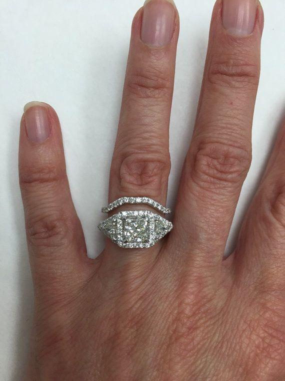 Princess Cut Trillion Diamond Engagement Ring with ...
