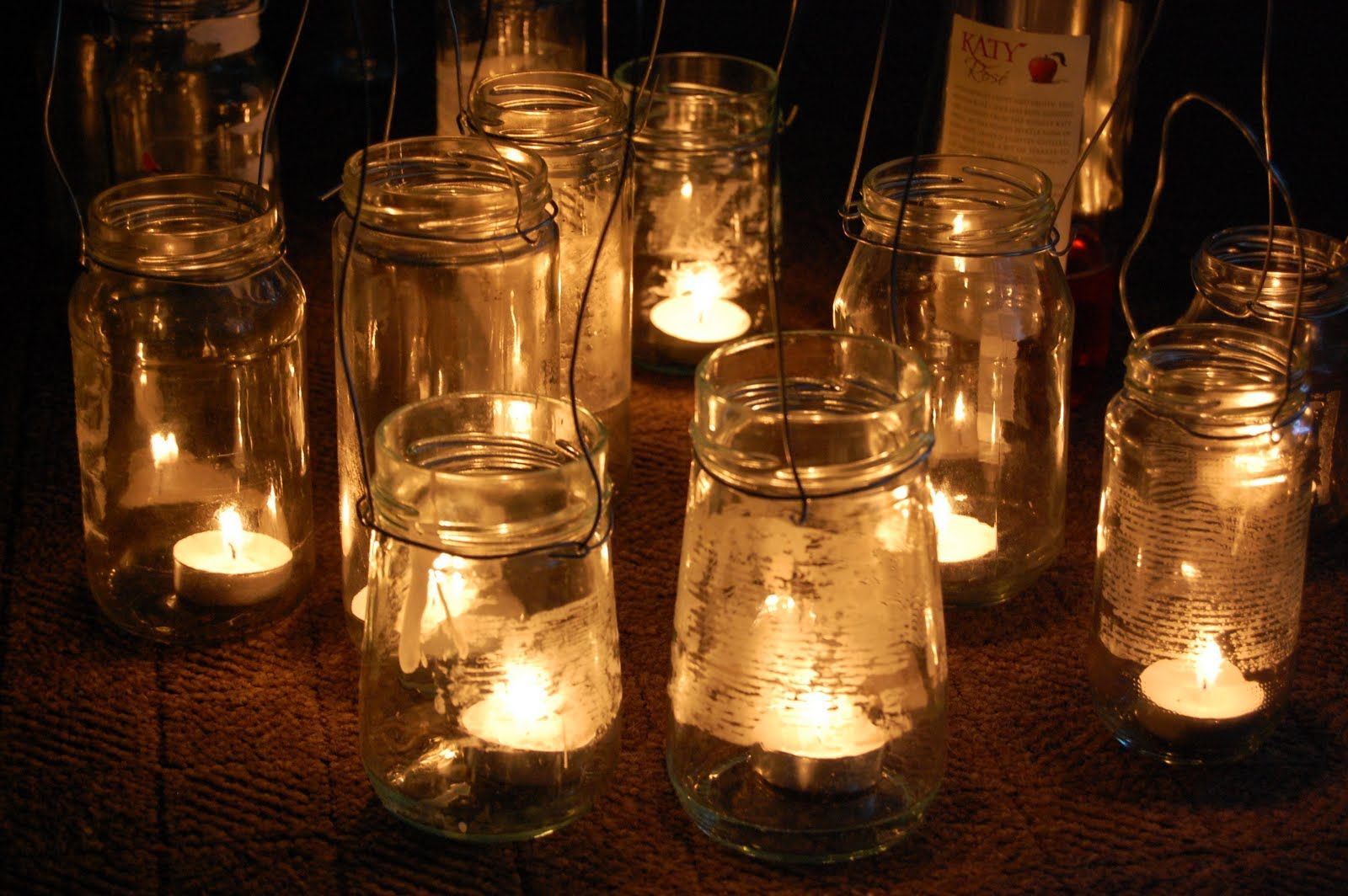 candles in jam jars
