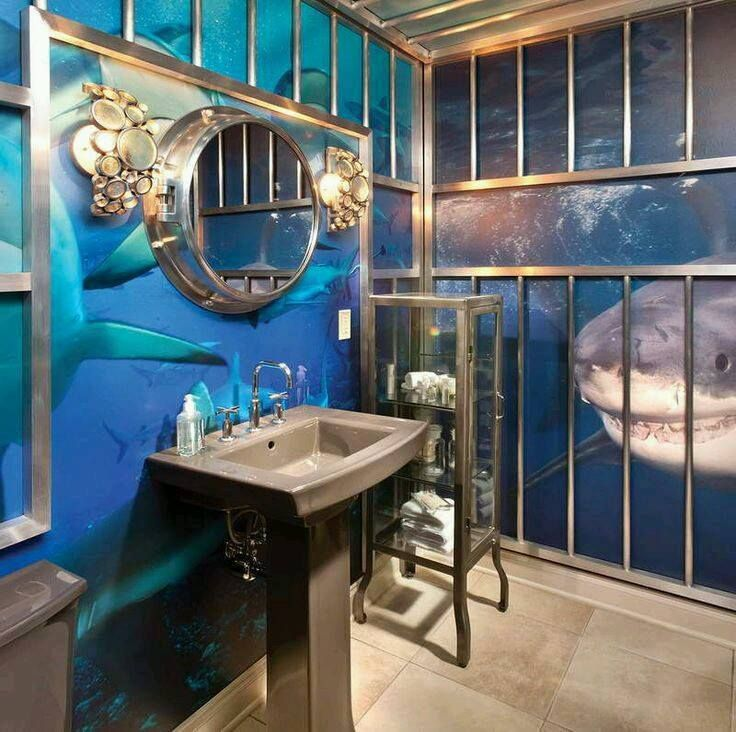 AWESOME Theme! Not Just Bathroom, Theme The Whole Basement Like This!