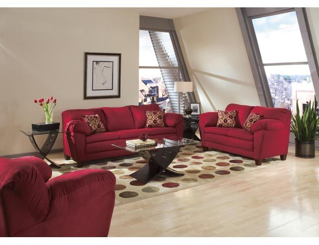 marvelous red leather living room furniture | Modern Red Living Room Furniture And Interior | Photos ...