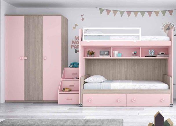 Habitaci n infantil con literas y armario literas for Armario habitacion nina
