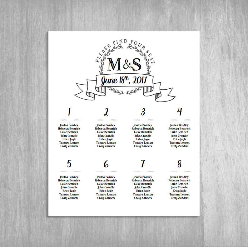 instant download printable seating chart poster template wreath word rh pinterest com