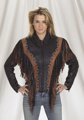 Ladies western style leather jacket with brown fringes, studs and brown  trim, It matches