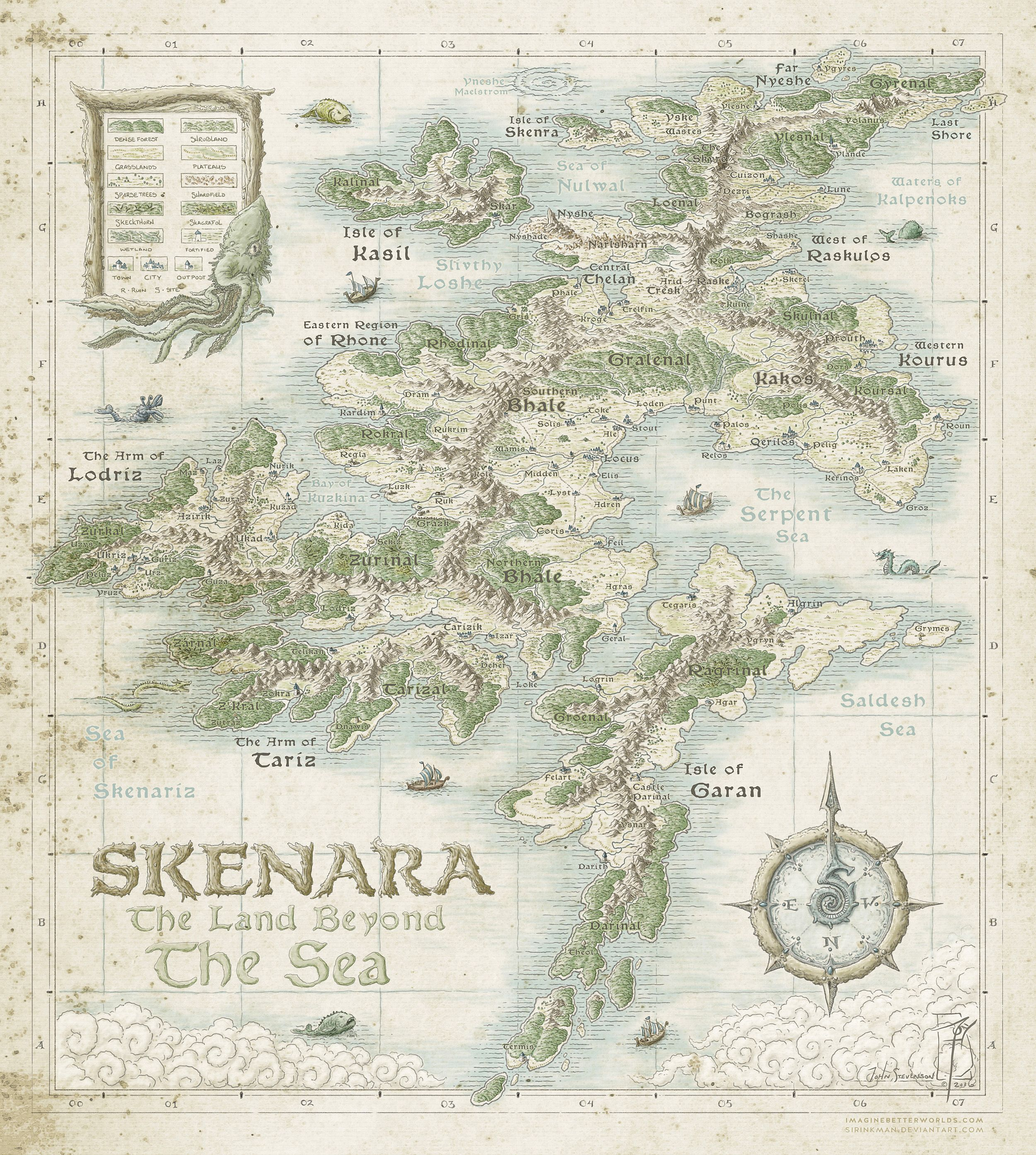 Skenara [Land Beyond the Sea] by SirInkman map cartography