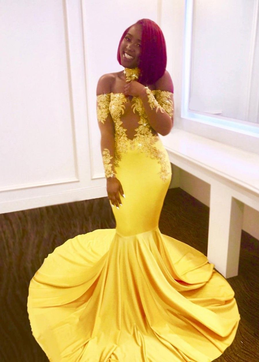 Offtheshoulder yellow prom dress mermaid long evening gowns