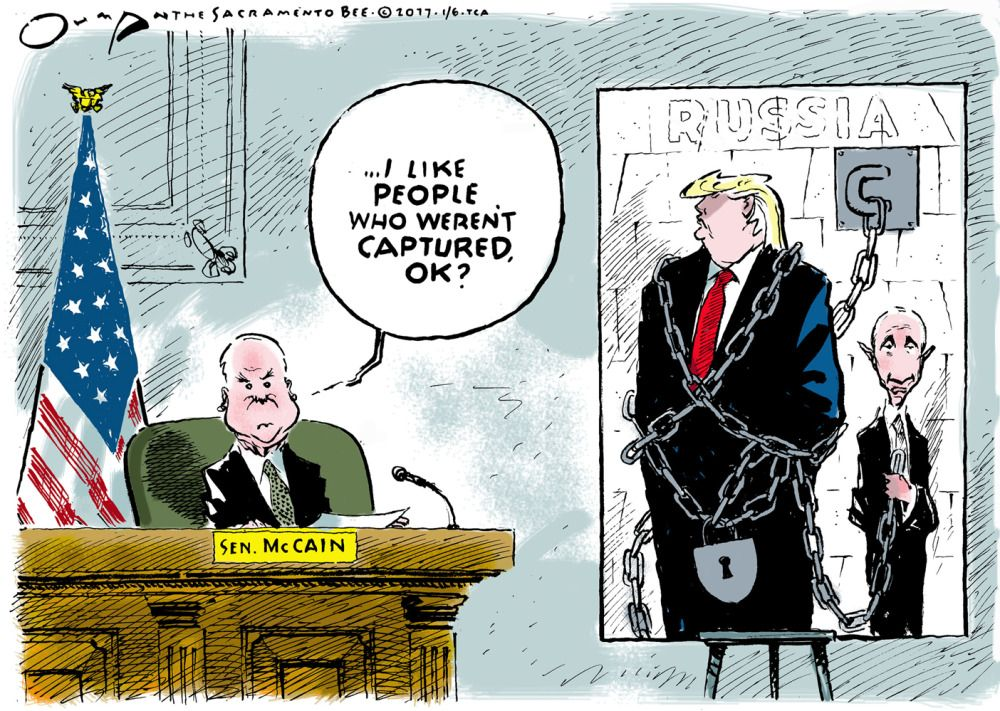 Image result for cartoons of mccain facing up to trump