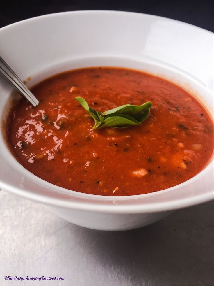 Scrumptious Tomato Bean Soup - Healthy tomato and bean soup is low on prep time and high on flavor!