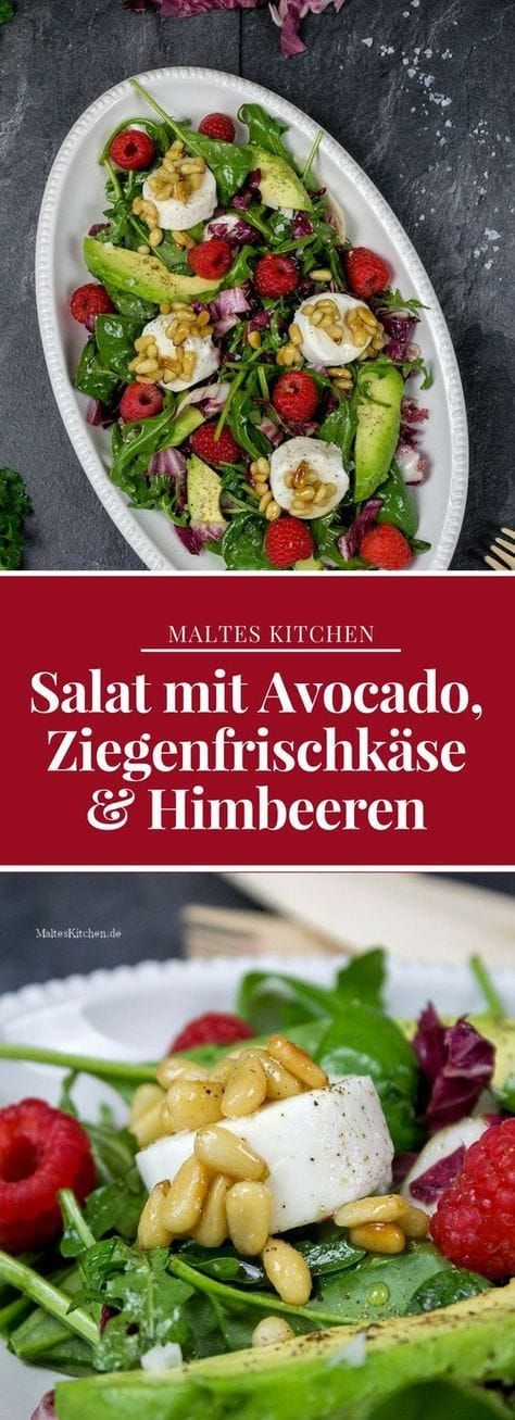 Gemischter Blattsalat mit Avocado, Ziegenfrischkäse & Himbeeren #dessertideeën