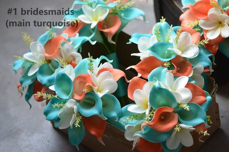 Turquoise Coral Bridal Bouquets, Artifical Calla Lilies, Real Touch Plumerias, Coral Beach Bridesmaids Bouquets, Turquoise Boutonnieres