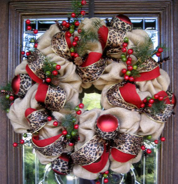 Natural Jute BURLAP LEOPARD and BERRIES Christmas by decoglitz
