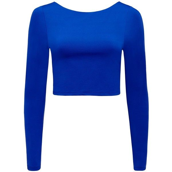 Forever New Milly long sleeve crop top ($29) ❤ liked on Polyvore featuring tops, shirts, crop top, imperial blue, shiny shirt, long-sleeve crop tops, high neck crop top, long sleeve tops and blue shirt