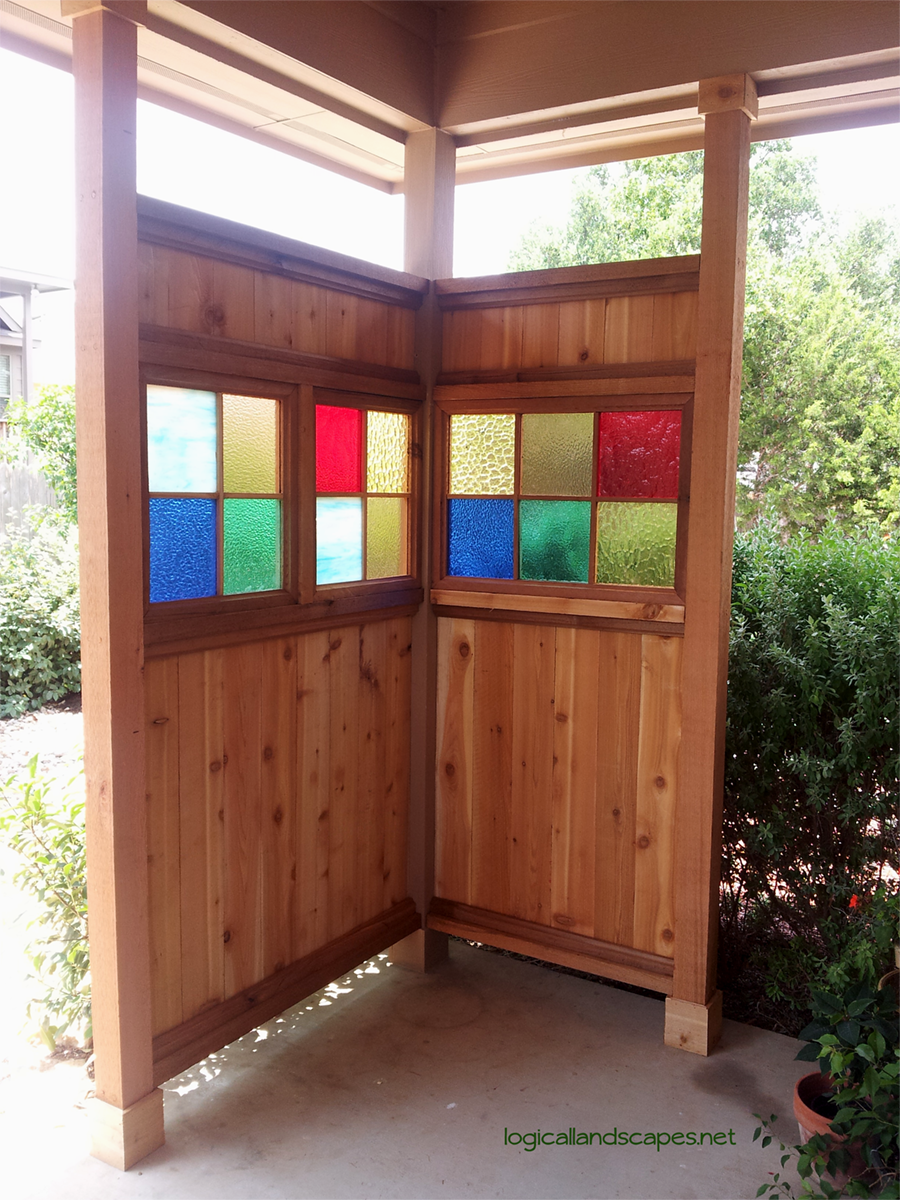 Cedar and stainedglass privacy screen built by my supertalented