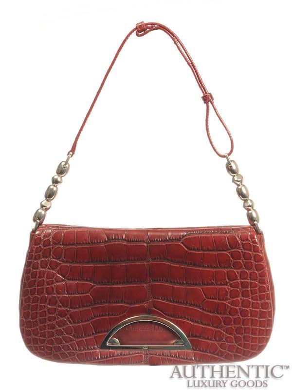Dior Small Red Crocodile Skin Shoulder Handbag Ebay 2 500