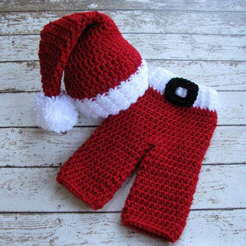 2pcs Handmade Baby Elf Hat +Pants Santa Claus Christmas Photography ...
