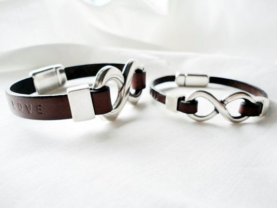Personalized 2x Matching Bracelet Set Infinity Bracelets For Him And Her Leather Silver Plated