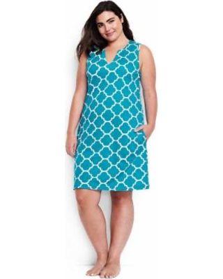 On Sale! Lands' End Women's Plus Size Cotton Jersey Sleeveless Cover-up - Calypso Blue Quatrefoil
