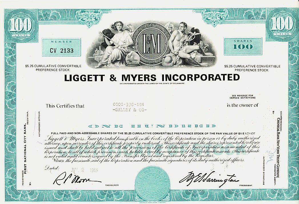 LIGGETT \ MYERS INC ( L\M CIGARETTES Tobacco) Durham NC Stock - company share certificates