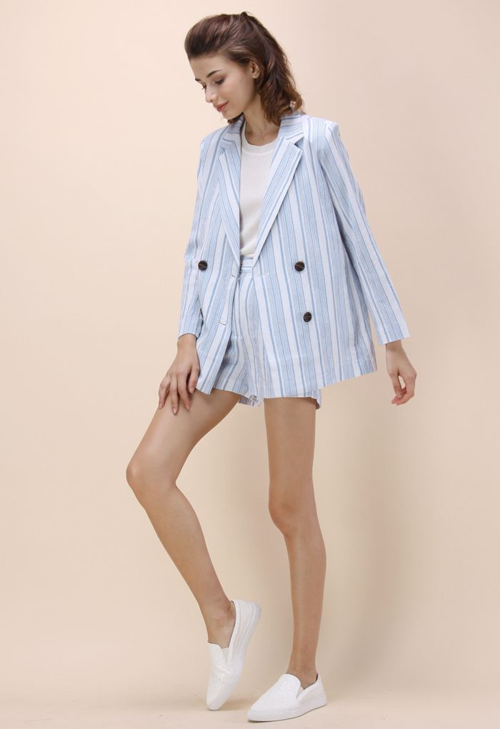 a6ce3d3408 Blue Striped Blazer and Shorts Set - New Arrivals - Retro, Indie and Unique…