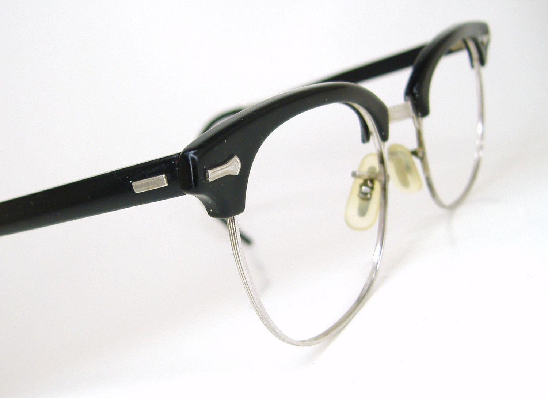 b563ff3d36 Vintage Mens Nerd Emo Black Shuron Horn Rim Eyeglasses Frame 1950s 1960s.   67.00