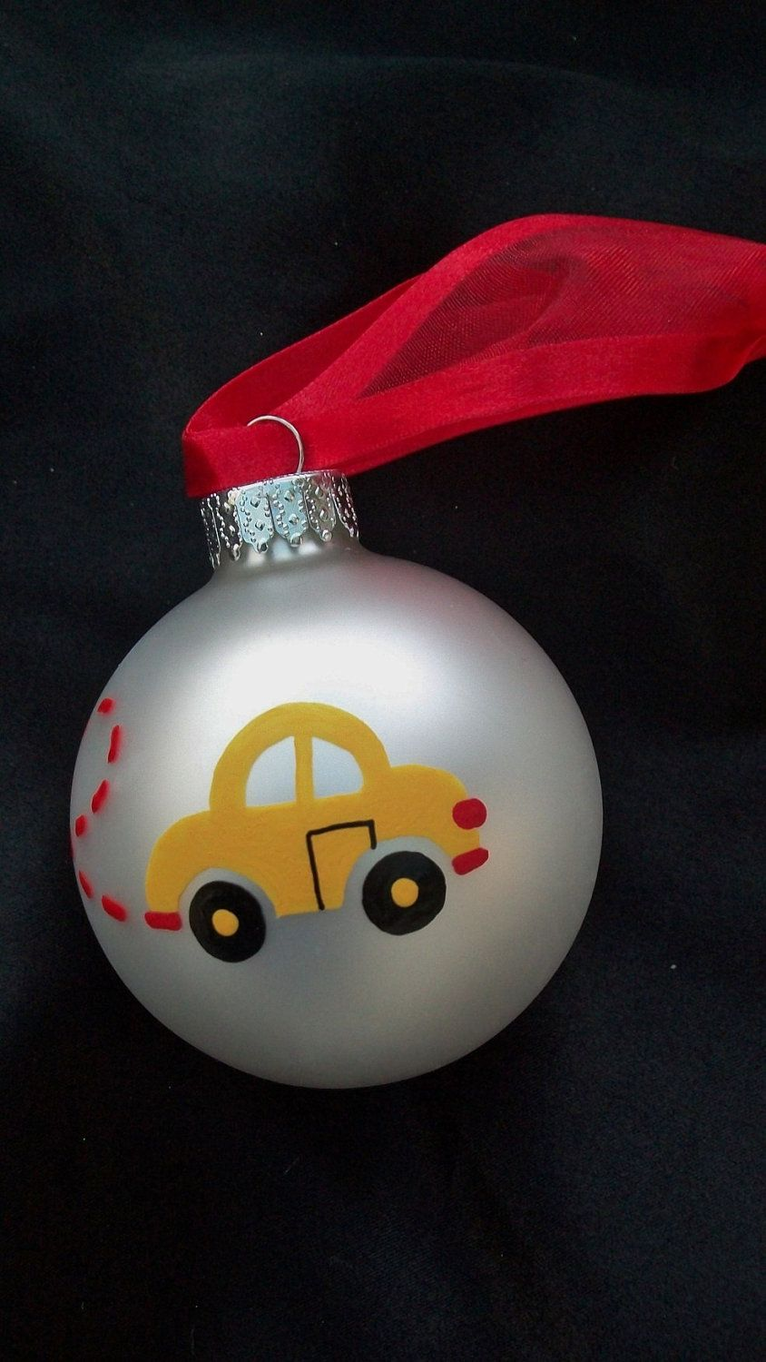 Graduation christmas ornament - Vw Beetle Personalized Christmas Ornament Hand Painted Yellow Car Ornament First Car New Driver Graduation Going To College Car Lover