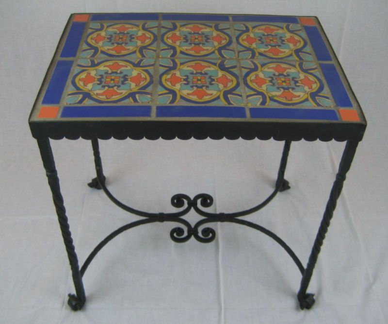 spanish revival california tile & wrought iron table. | wrought