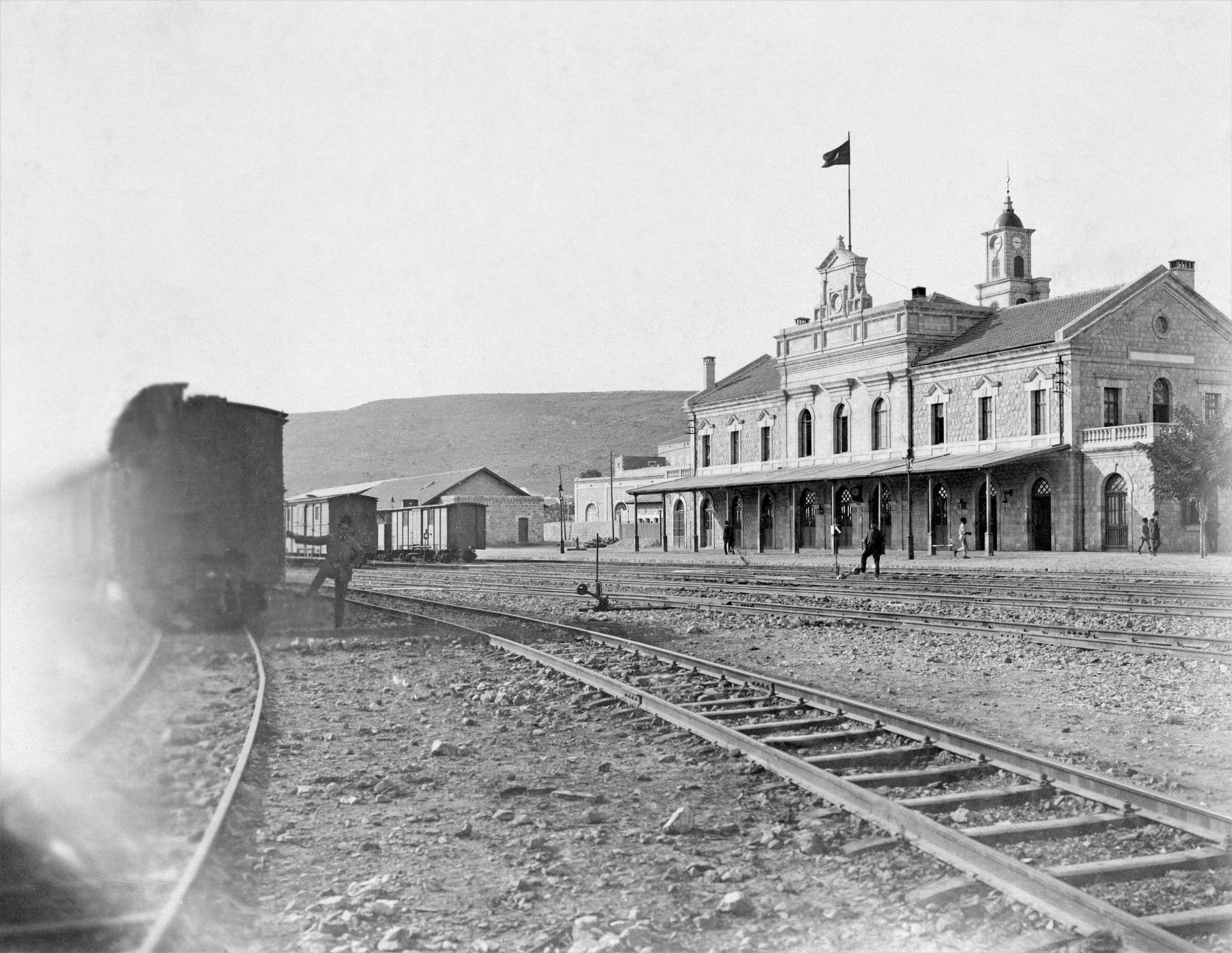 Hedjaz Railway Haifa حيفا Train Station 1914 The Station Building And Switching Yard Haifa Old Pictures Train Station